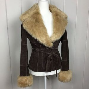Wilson's Leather Brown Suede Jacket w/Faux Fur - S